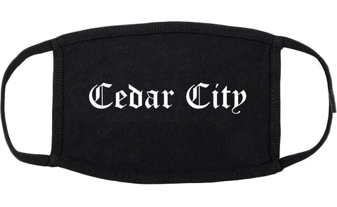 Cedar City Utah UT Old English Cotton Face Mask Black