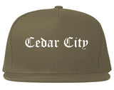 Cedar City Utah UT Old English Mens Snapback Hat Grey