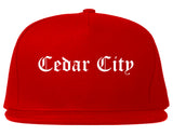 Cedar City Utah UT Old English Mens Snapback Hat Red