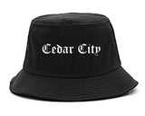 Cedar City Utah UT Old English Mens Bucket Hat Black