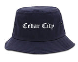 Cedar City Utah UT Old English Mens Bucket Hat Navy Blue