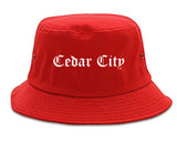 Cedar City Utah UT Old English Mens Bucket Hat Red