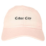 Cedar City Utah UT Old English Mens Dad Hat Baseball Cap Pink
