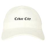 Cedar City Utah UT Old English Mens Dad Hat Baseball Cap White
