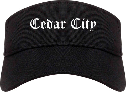Cedar City Utah UT Old English Mens Visor Cap Hat Black