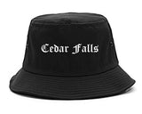 Cedar Falls Iowa IA Old English Mens Bucket Hat Black