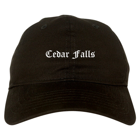 Cedar Falls Iowa IA Old English Mens Dad Hat Baseball Cap Black