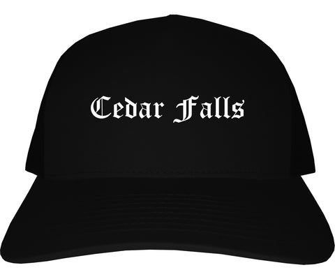 Cedar Falls Iowa IA Old English Mens Trucker Hat Cap Black