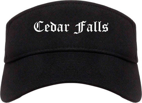 Cedar Falls Iowa IA Old English Mens Visor Cap Hat Black