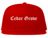 Cedar Grove Florida FL Old English Mens Snapback Hat Red