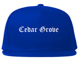 Cedar Grove Florida FL Old English Mens Snapback Hat Royal Blue