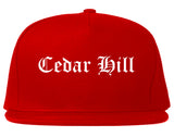 Cedar Hill Texas TX Old English Mens Snapback Hat Red