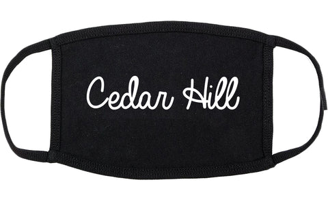 Cedar Hill Texas TX Script Cotton Face Mask Black