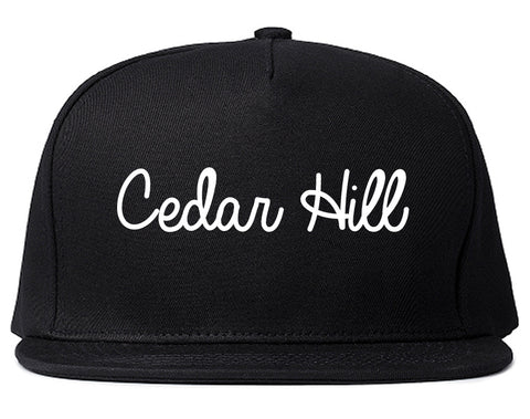 Cedar Hill Texas TX Script Mens Snapback Hat Black