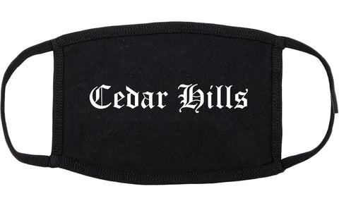 Cedar Hills Utah UT Old English Cotton Face Mask Black