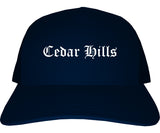 Cedar Hills Utah UT Old English Mens Trucker Hat Cap Navy Blue