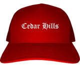 Cedar Hills Utah UT Old English Mens Trucker Hat Cap Red