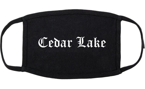 Cedar Lake Indiana IN Old English Cotton Face Mask Black