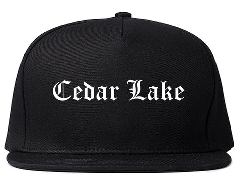 Cedar Lake Indiana IN Old English Mens Snapback Hat Black
