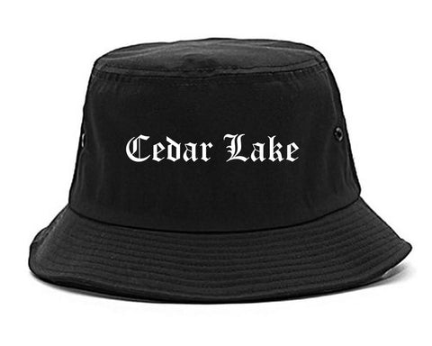 Cedar Lake Indiana IN Old English Mens Bucket Hat Black
