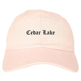 Cedar Lake Indiana IN Old English Mens Dad Hat Baseball Cap Pink