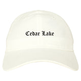 Cedar Lake Indiana IN Old English Mens Dad Hat Baseball Cap White