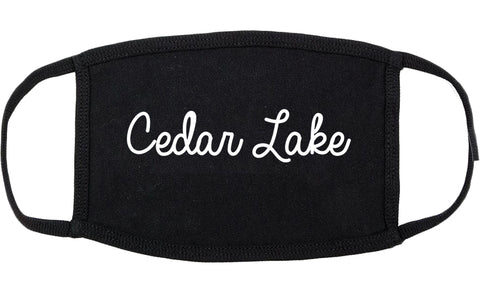 Cedar Lake Indiana IN Script Cotton Face Mask Black