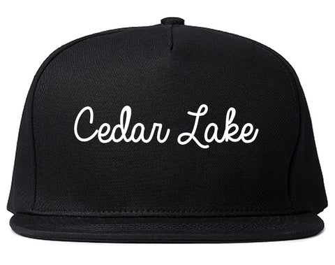 Cedar Lake Indiana IN Script Mens Snapback Hat Black