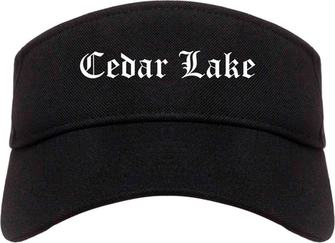 Cedar Lake Indiana IN Old English Mens Visor Cap Hat Black