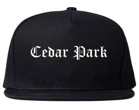 Cedar Park Texas TX Old English Mens Snapback Hat Black