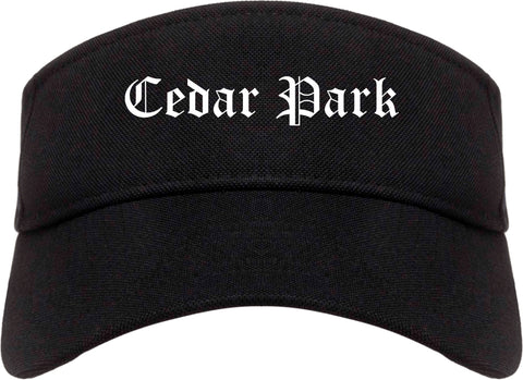 Cedar Park Texas TX Old English Mens Visor Cap Hat Black