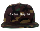 Cedar Rapids Iowa IA Old English Mens Snapback Hat Army Camo