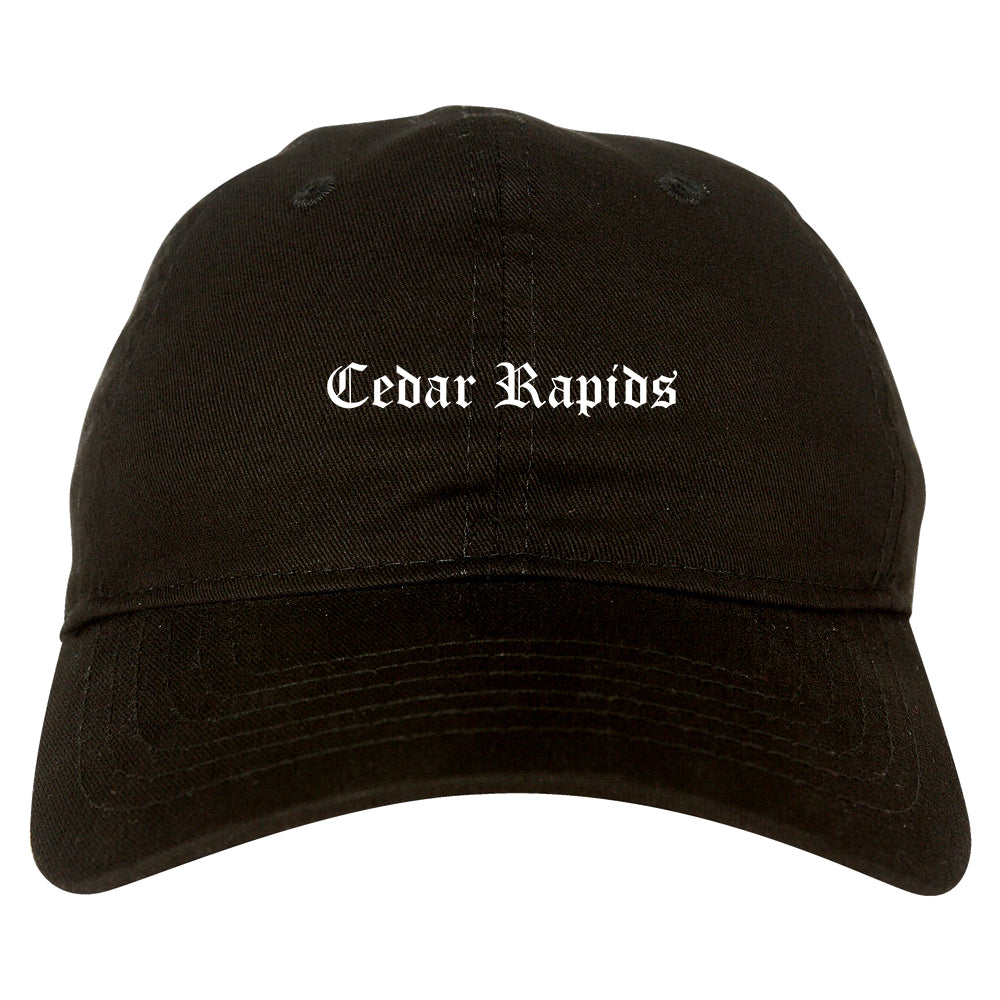 Cedar Rapids Iowa IA Old English Mens Dad Hat Baseball Cap Black