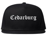 Cedarburg Wisconsin WI Old English Mens Snapback Hat Black