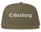 Cedarburg Wisconsin WI Old English Mens Snapback Hat Grey