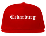 Cedarburg Wisconsin WI Old English Mens Snapback Hat Red