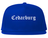 Cedarburg Wisconsin WI Old English Mens Snapback Hat Royal Blue