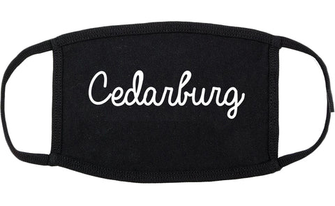 Cedarburg Wisconsin WI Script Cotton Face Mask Black