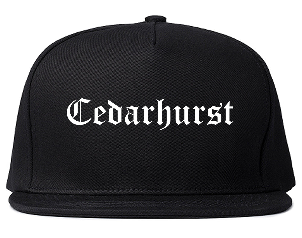 Cedarhurst New York NY Old English Mens Snapback Hat Black