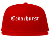 Cedarhurst New York NY Old English Mens Snapback Hat Red