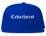 Cedarhurst New York NY Old English Mens Snapback Hat Royal Blue