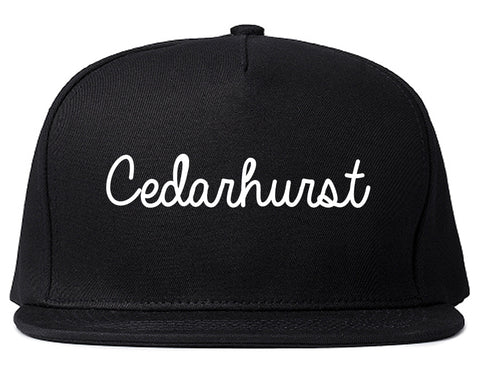 Cedarhurst New York NY Script Mens Snapback Hat Black