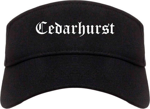 Cedarhurst New York NY Old English Mens Visor Cap Hat Black