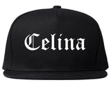 Celina Ohio OH Old English Mens Snapback Hat Black