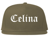 Celina Texas TX Old English Mens Snapback Hat Grey