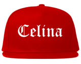 Celina Texas TX Old English Mens Snapback Hat Red