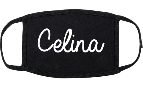 Celina Texas TX Script Cotton Face Mask Black