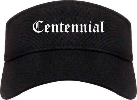 Centennial Colorado CO Old English Mens Visor Cap Hat Black