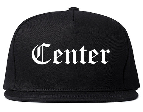 Center Texas TX Old English Mens Snapback Hat Black