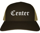 Center Texas TX Old English Mens Trucker Hat Cap Brown